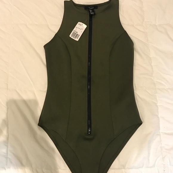 Olive Green Scuba Zip Up Bodysuit - Forever 21 b52f3aaf8